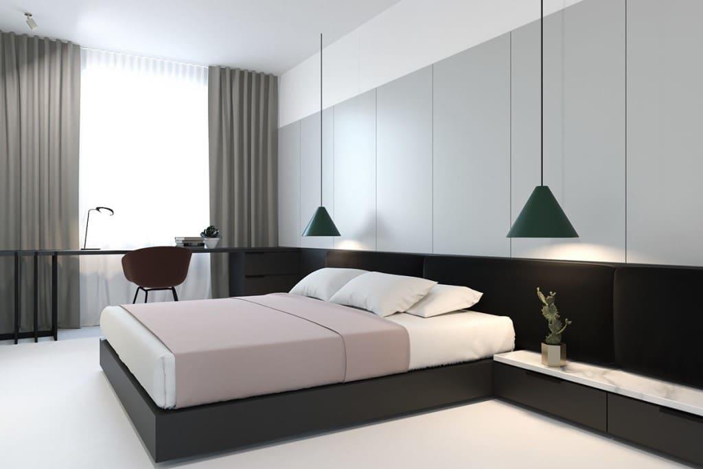 Дизайн спальни в стиле минимализм: 87 лучших фото современных интерьеров