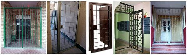 Разновидности решеток на двери с раздвижным механизмом, материалы изготовления и основные преимущества
