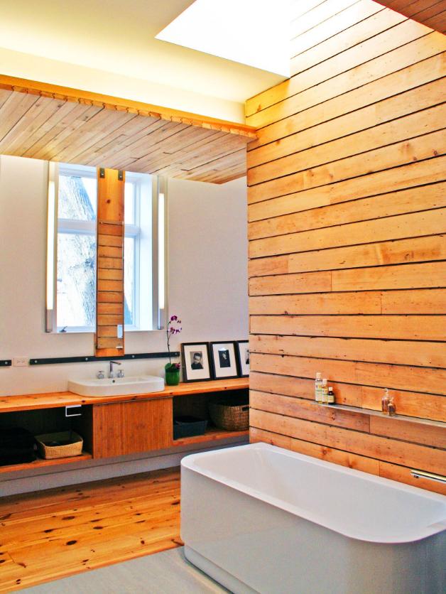 Ванная под дерево: дизайн и отделка ванной комнаты деревом