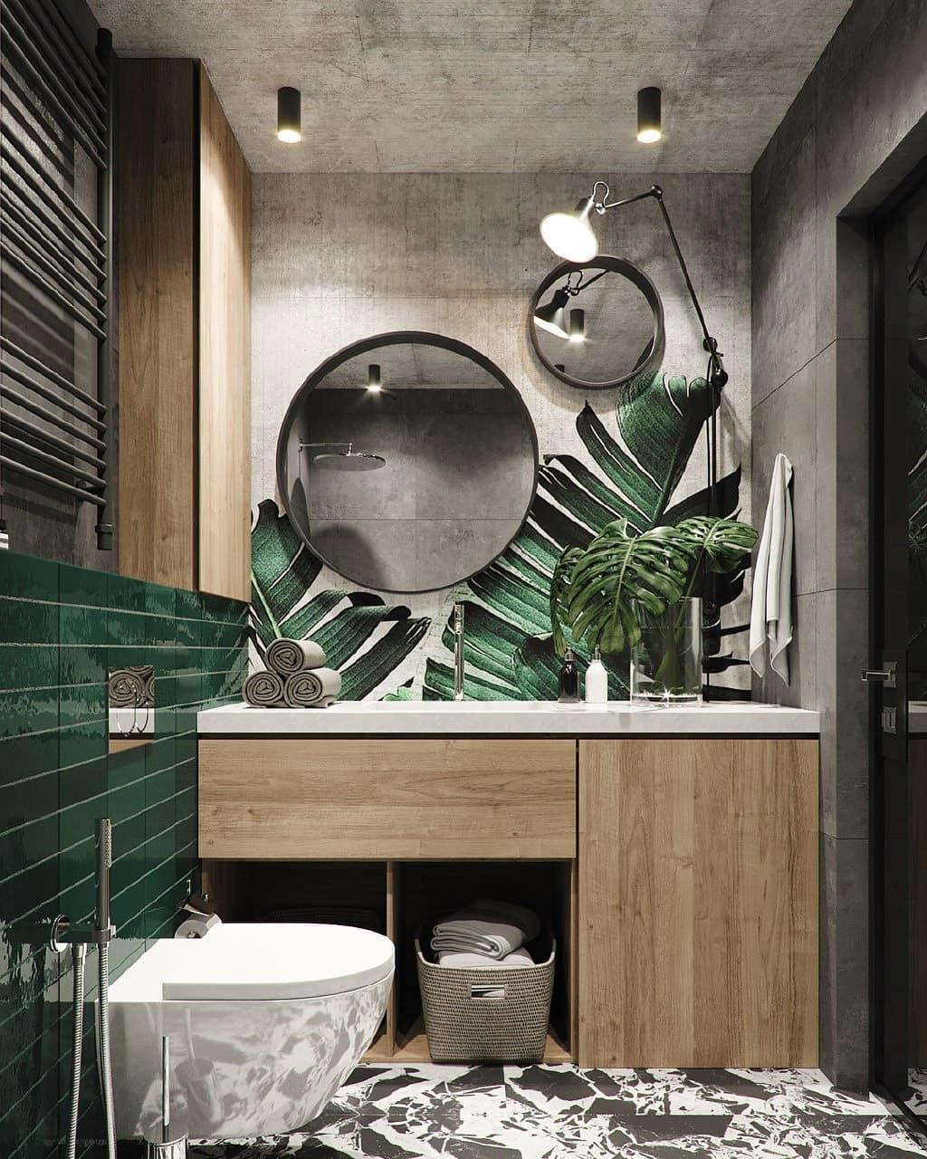 Какие сделать стены в ванной комнате, перегородки (фото)