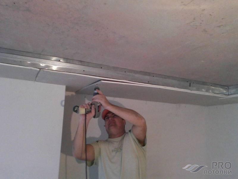Как закрепить багет для натяжного потолка к гипсокартону