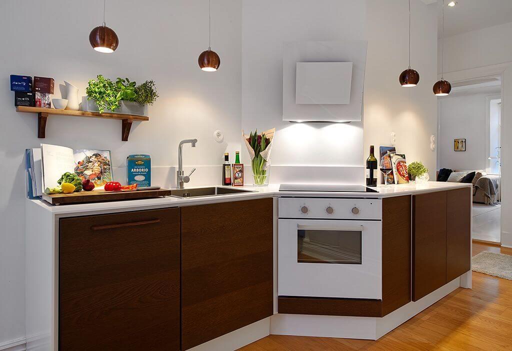 Дизайн кухни без верхних шкафов: 40+ фото, плюсы и минусы