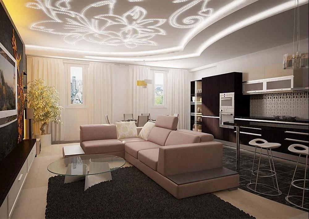 Двухуровневые потолки из гипсокартона для гостиной (43 фото): 2-х уровневый потолок с подсветкой, идеи 2021 и примеры в интерьере