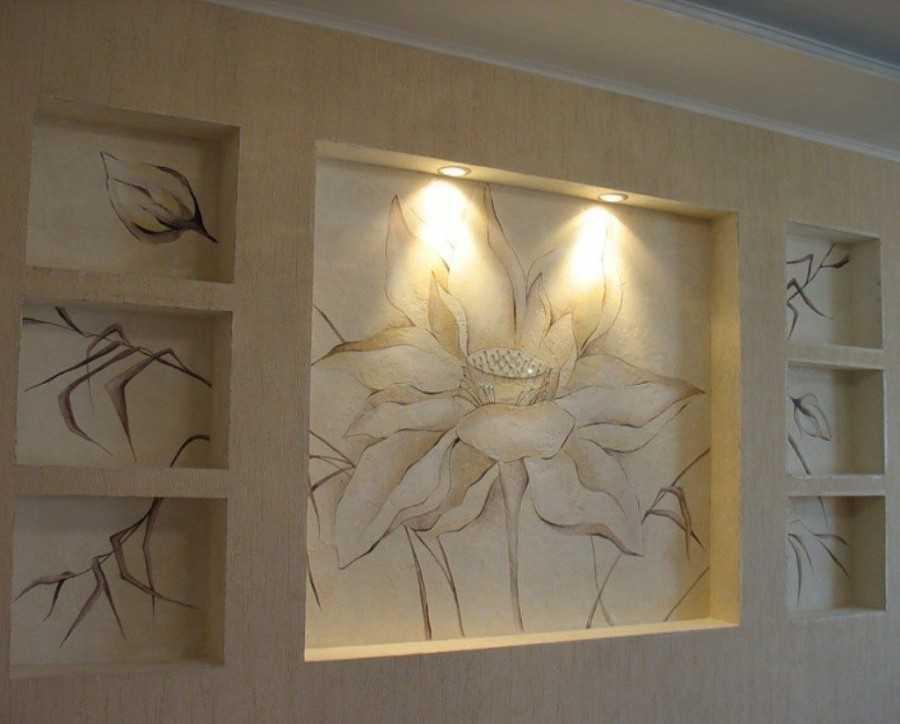 Ниши из гипсокартона (69 фото): как сделать своими руками в стене со светодиодной подсветкой для штор