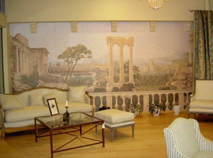 Фрески в дизайне гостиной фото