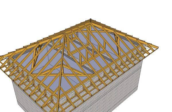 Четырехскатная крыша, стропильная система: чертежи