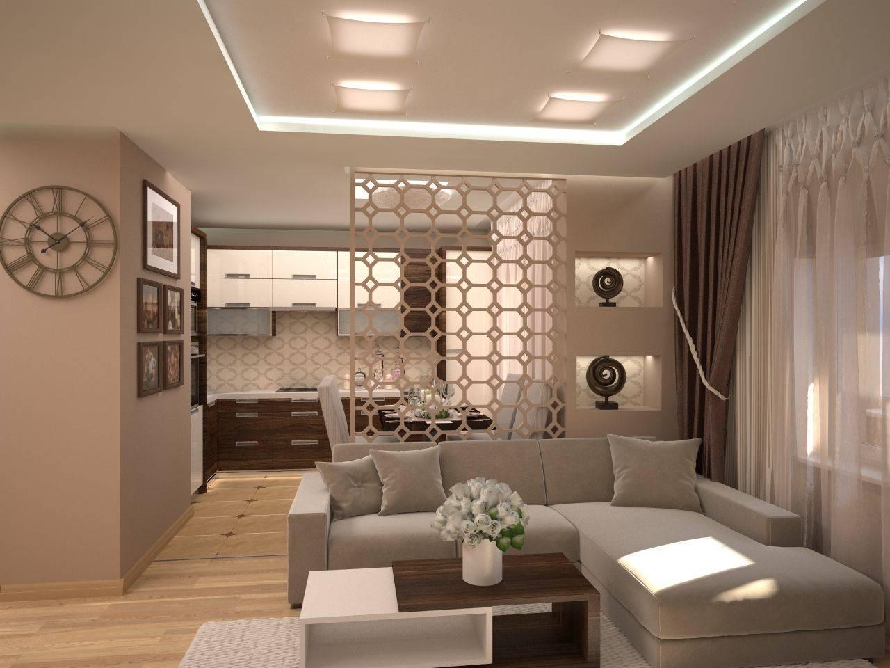 Дизайн кухни гостиной: маленькая кухня гостиная и большая, с барной стойкой и островом, фото