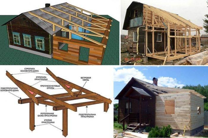 Пристройка к дому с ломаной крышей