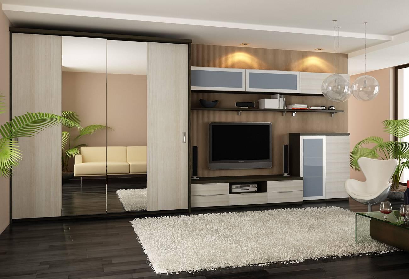 Шкафы-купе в интерьере гостиной: идеи дизайна — формируем интерьер правильно