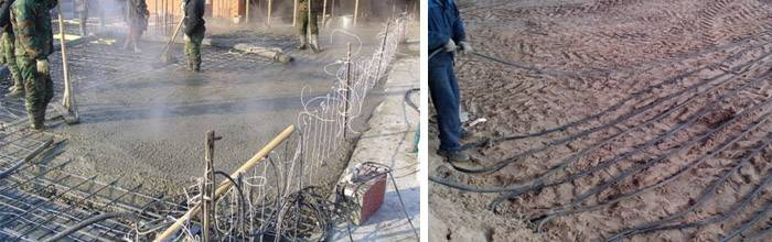 Прогрев бетона проводом пнсв от сети 220в: схема укладки