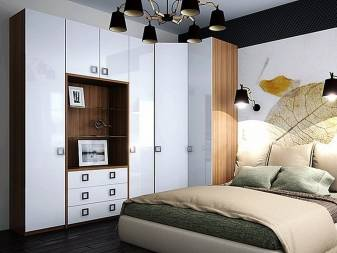 Расположение углового шкафа в спальне