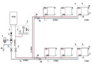 Схема отопления для 2-х этажного частного жилого дома