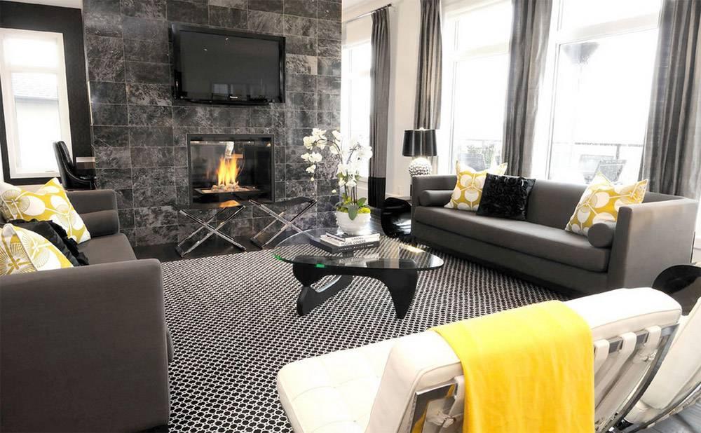 Оформление гостиной в серых тонах: 4 положительных аспекта