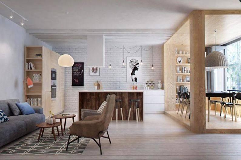 Простота и роскошь гостиной в скандинавском стиле