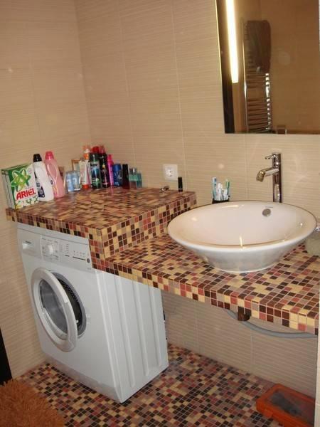 Стиральная машина в ванной: советы по выбору, варианты размещения, стильные решения и способы маскировки (90 фото-идей)