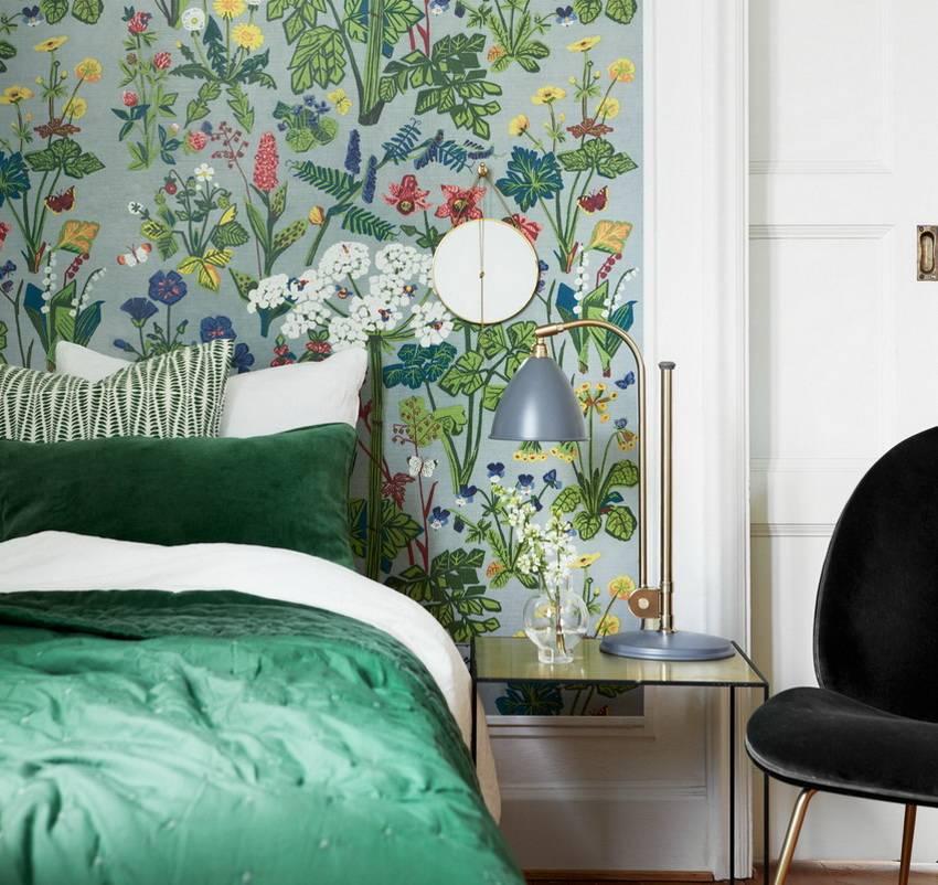 Зеленая спальня в интерьере: 175+ (фото) дизайна и аксессуаров