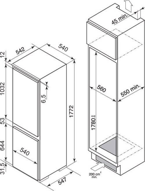 Стандартная ширина холодильника: размеры, габариты, какая бывает минимальная высота, бытовых, двухкамерного, сколько, глубина большого
