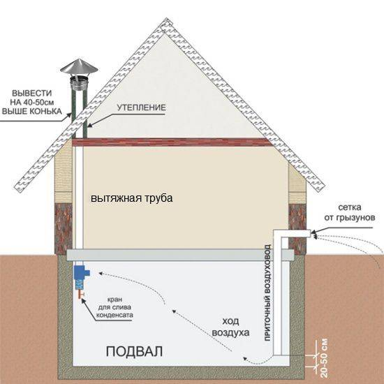 Как организовать естественную вентиляцию в подвале своими руками