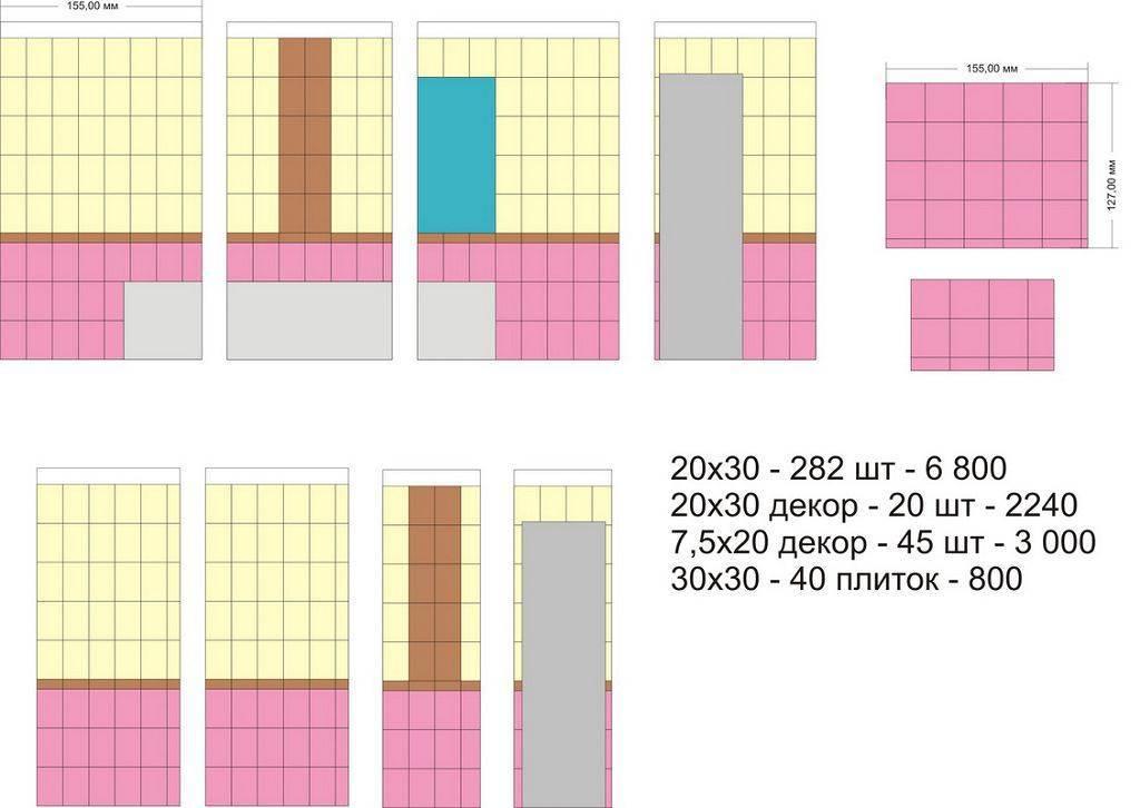 Расчет плитки: как рассчитать количество керамической и кафельной продукции на стену, сколько нужно квадратов, сколько потребуется по диагонали
