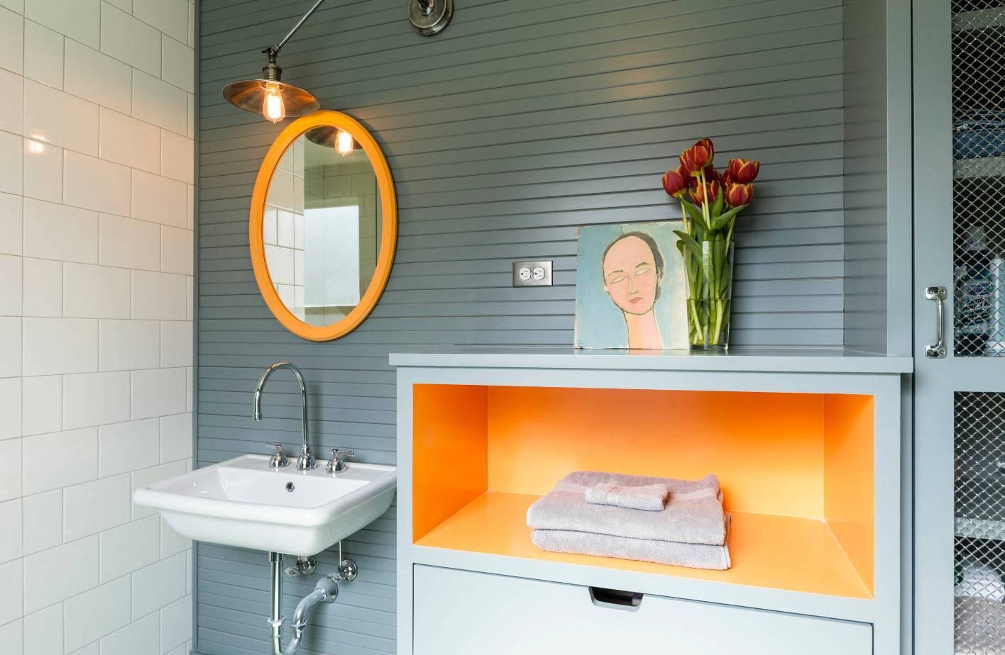 Оранжевая ванная комната — создание позитивного настроения и подбор оптимальных цветовых сочетаний ( фото-идей)