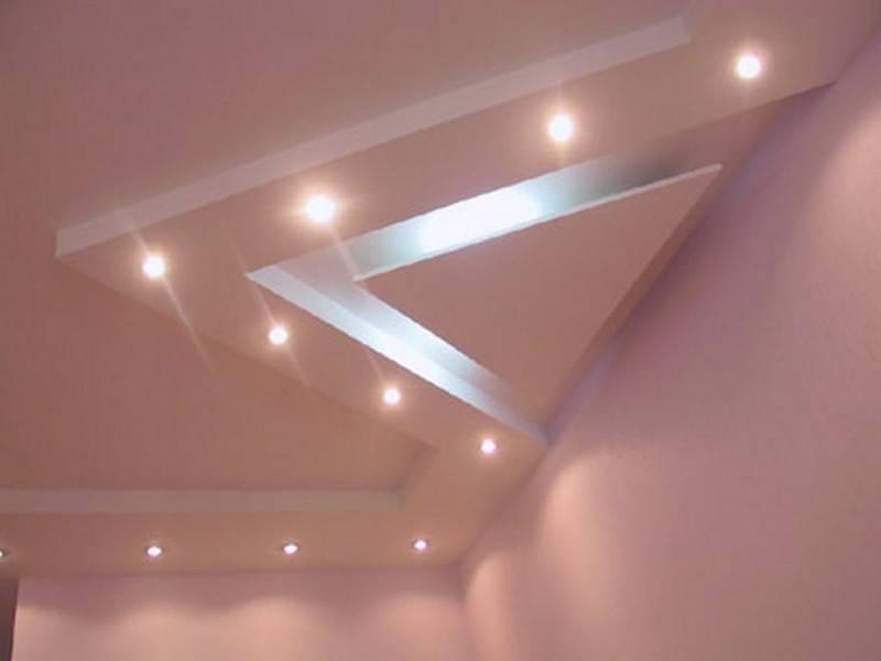 Потолок из гипсокартона в зале своими руками: фото