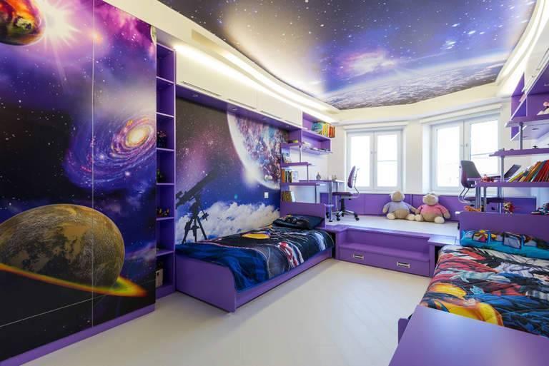 Потолок в детской комнате для мальчика (28 фото): оформление потолка для подростка
