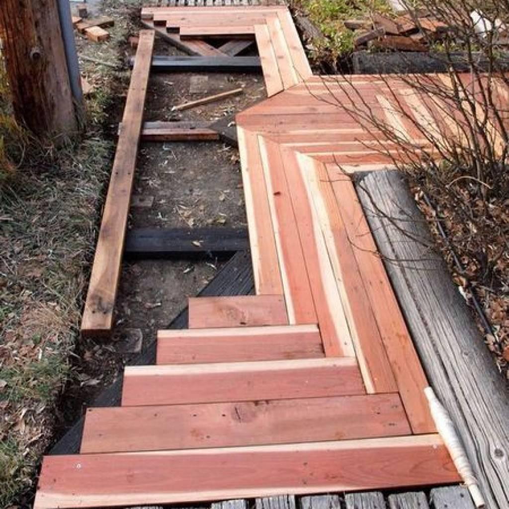 Изготовление дорожек из спилов дерева в ландшафтном дизайне