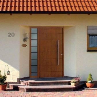 Деревянные входные двери для частных домов (29 фото): теплые уличные двери из дерева для загородного дома, дубовые изделия