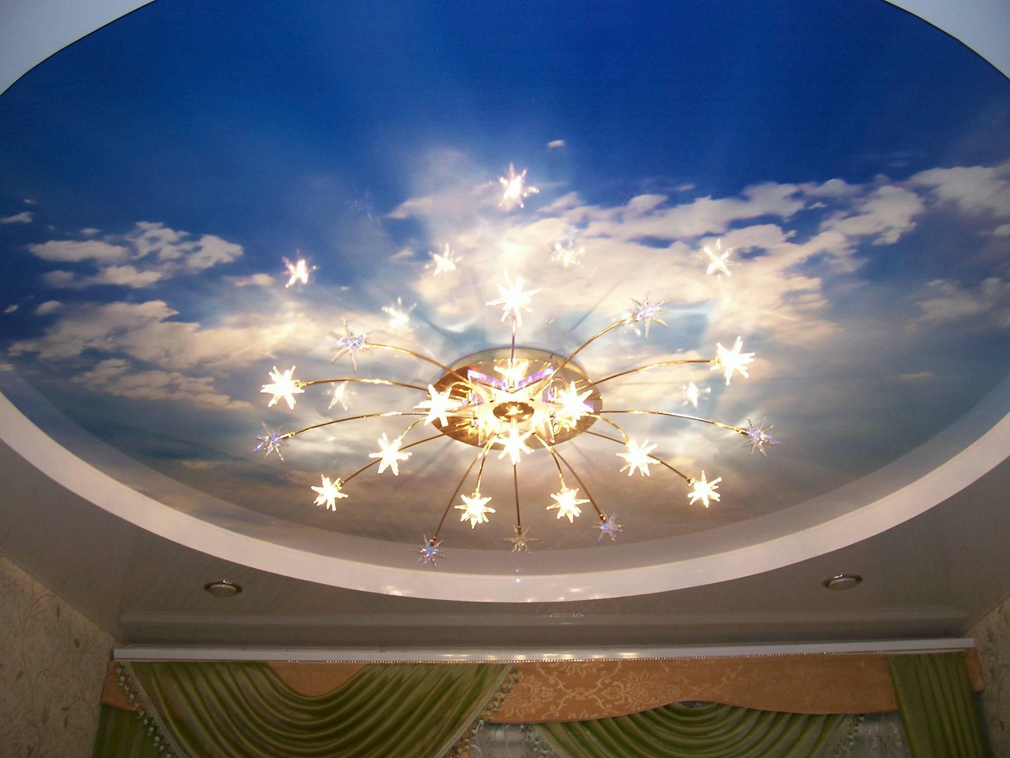 Светильники для натяжных потолков: обзор подходящих ламп и установка своими руками ( фото-идей)