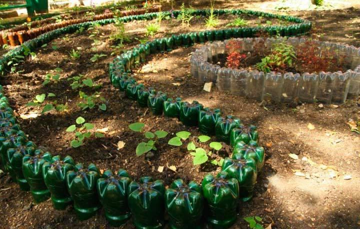 Поделки из пластиковых бутылок для сада и огорода, дачи и палисадника, поделка для начинающих и детей из пластиковой бутылки   жл