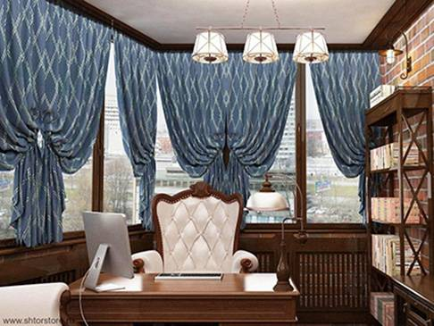 Обзор штор в офис на окна: дизайн и фото в интерьере