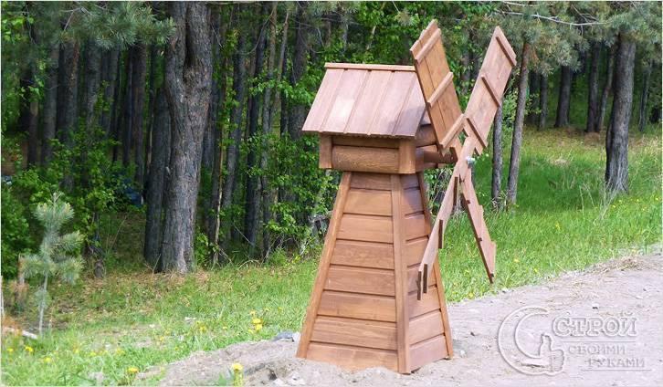 Декоративная мельница своими руками для сада: как сделать из дерева, фото, картинки и чертежи, пошаговая инструкция как построить