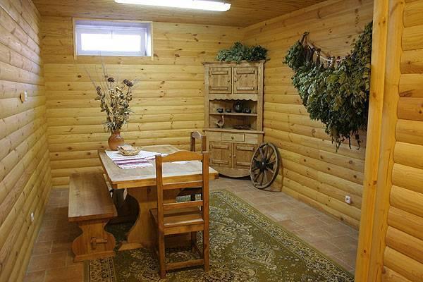 Интерьер бани в комнате отдыха и помывочной - создаём эффектный дизайн интерьера