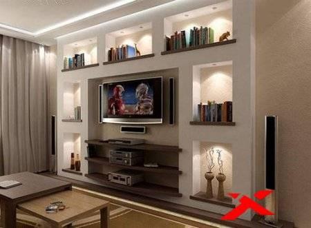 Ниши из гипсокартона в гостиной фото: в зале интерьер, дизайн стен