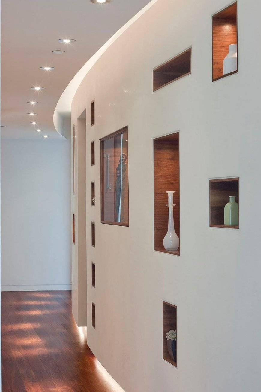 Ниши из гипсокартона в зале и гостиной (17 фото)