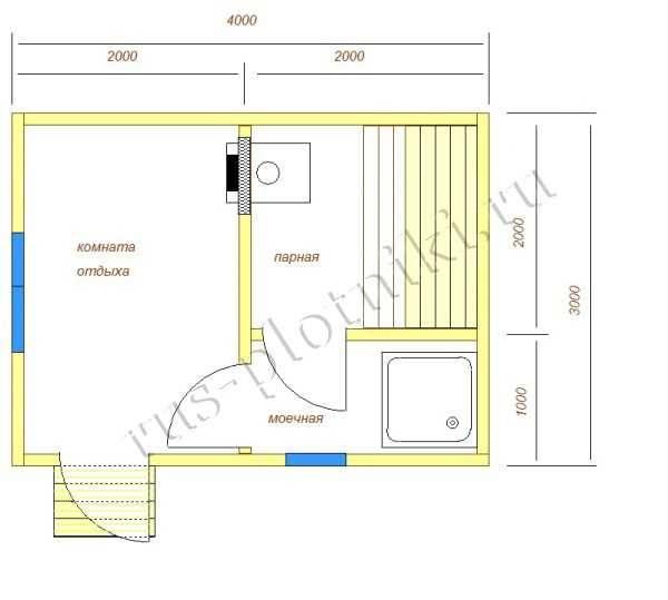 Планировка бани с размерами 3х5, 4х5, 5х5, 6х5: лучшие решения