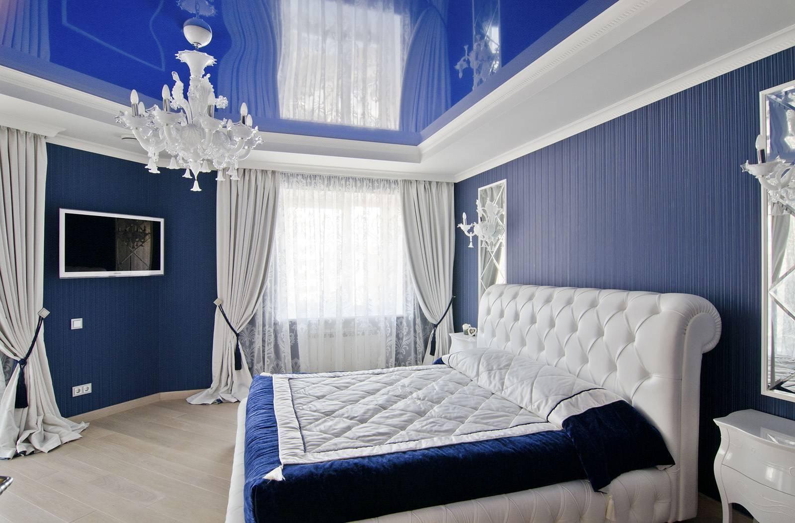 Натяжной потолок в спальне (93 фото): идеи дизайна- и освещения одноуровневых потолочных покрытий с 3d рисунком