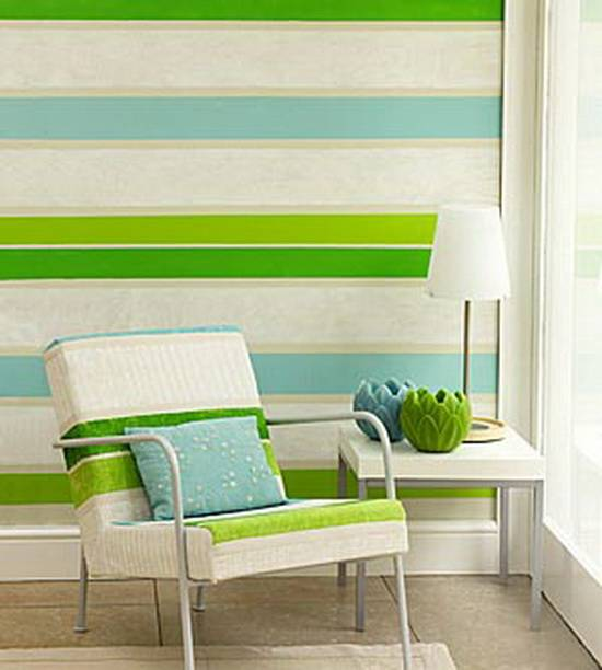 Стена в полоску, полосатые стены в интерьере и покраска  - 25 фото