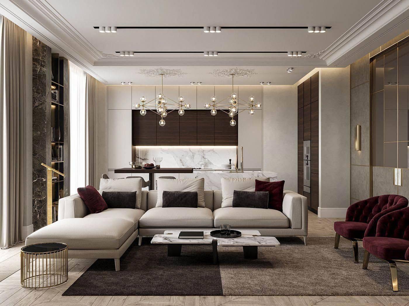 Интерьер зала в стиле барокко: фото и 5 условий для его создания