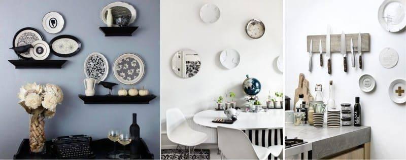 70 фото-идей по украшению стен декоративными тарелками