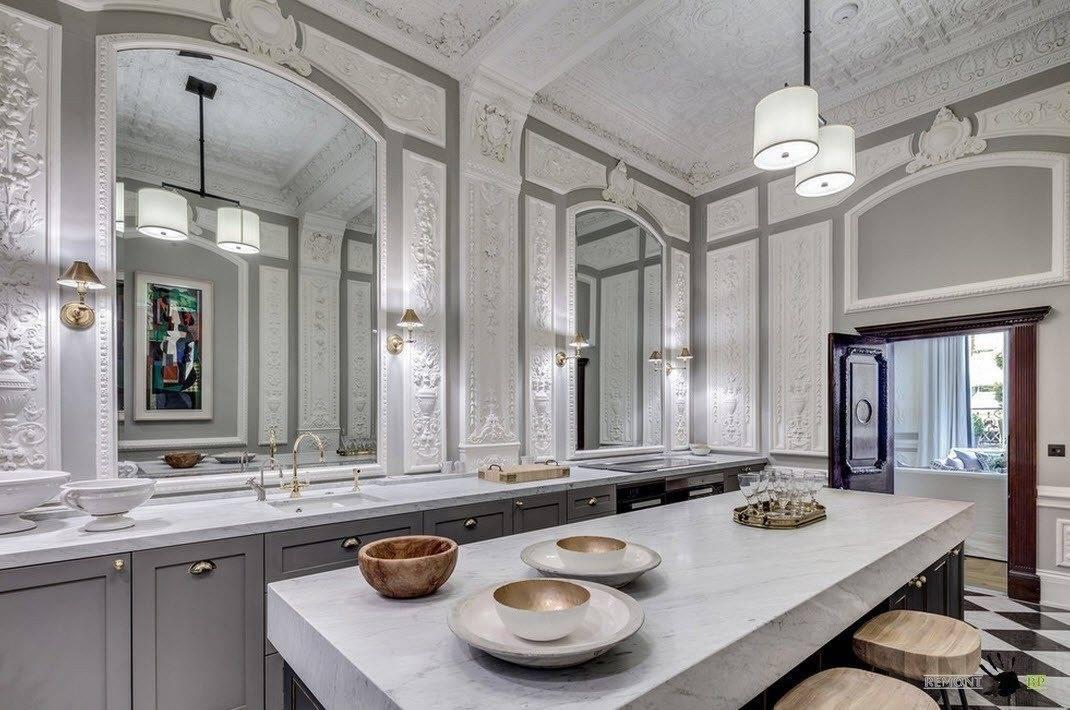Зеркало на кухне: 85+ (фото) на стене, над столом, над полкой