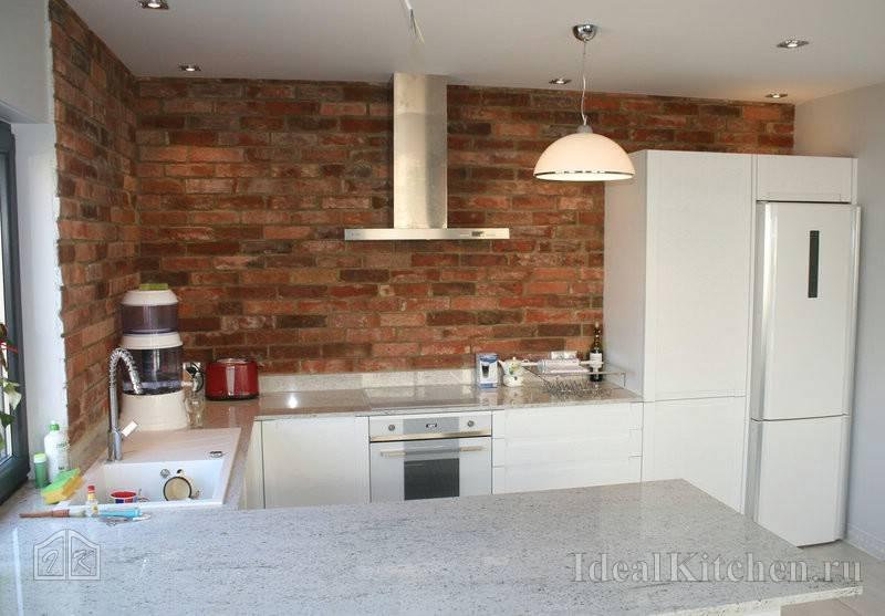 Плитка под кирпич для кухни на фартук, плитка под белый кирпич в стиле лофт