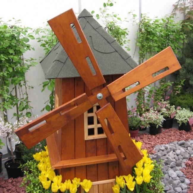 Декоративная деревянная мельница для сада своими руками: мастер-класс