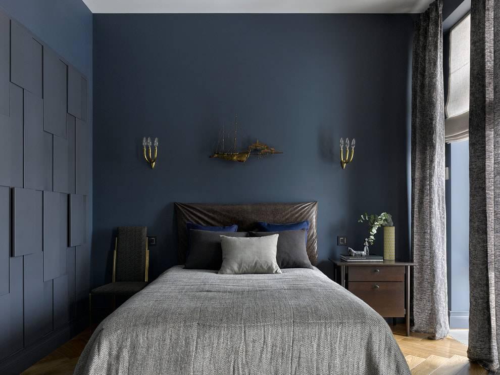 Спальня в синих тонах: дизайн интерьера, возможные сочетания цветов + фото