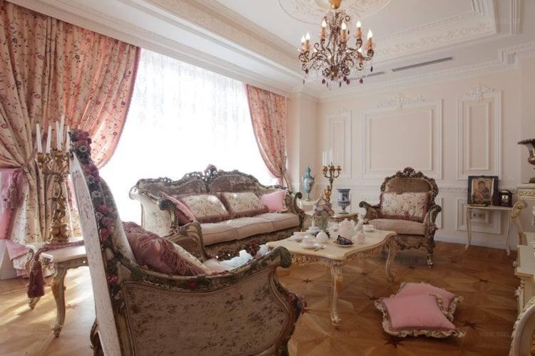 Гостиная в стиле барокко: 100 красивых фото-идей - дизайн интерьера