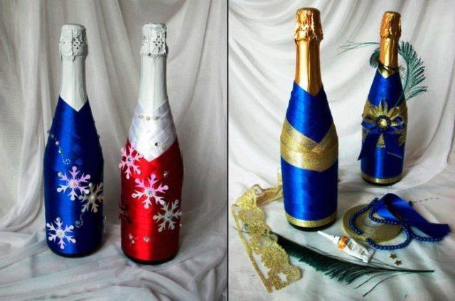 Оформление бутылки шампанского на новый год своими руками: мастер-класс (фото 2019)
