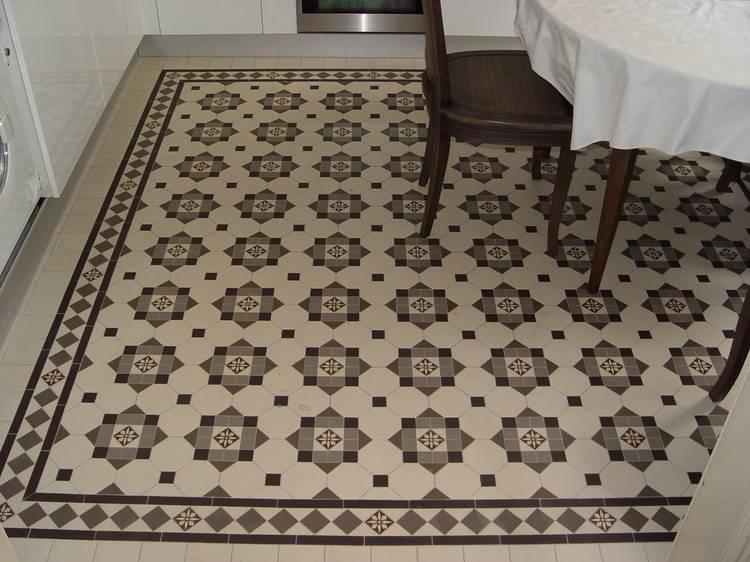Метлахская плитка для пола керамическая в интерьере ванной и кухни, способы укладки