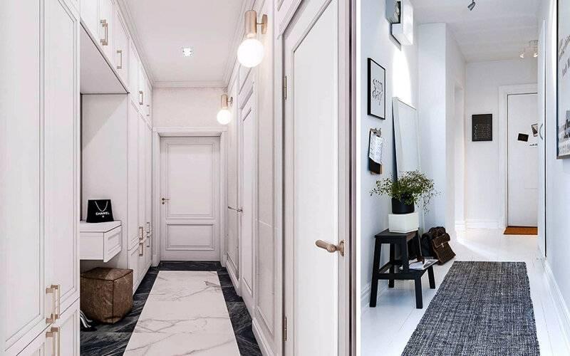 Дизайн длинного коридора (51 фото): идеи и решения в интерьере по обустройству широкого коридора в трехкомнатной квартире