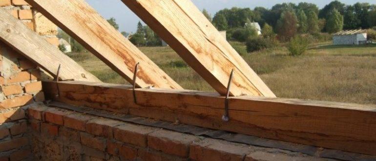 Крепление стропил к мауэрлату двухскатной крыши и их установка