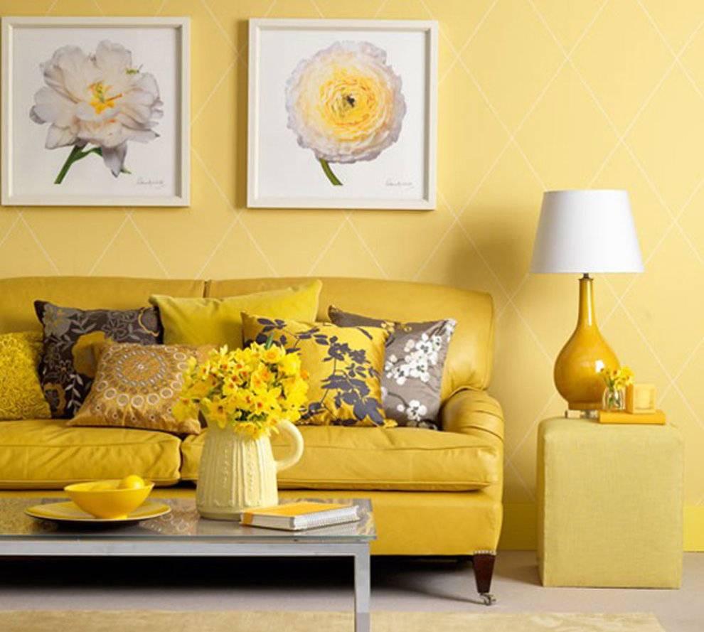 Желтый и белый цвет в интерьере